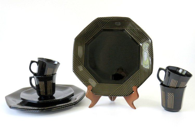 RARE Marine Gold by Arcoroc France Dinnerware, Black with Gold Lines ...