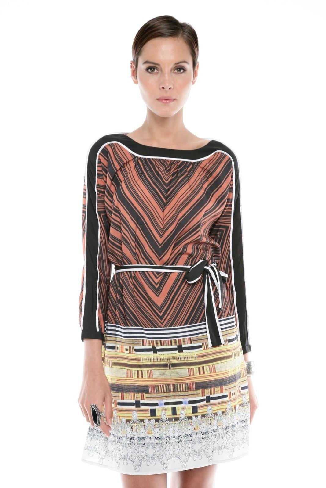 boat neck Chevron Print Dress.