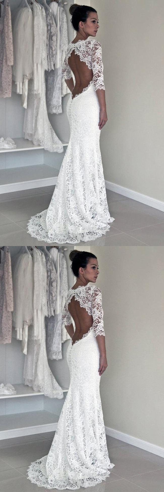 Wedding dress long sleeve  Long Wedding DressesCheap Wedding GownsLace Wedding DressesOpen