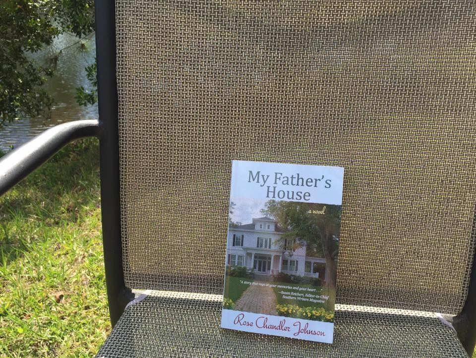 """Christie Harris Espie said """"Beautiful day for reading outside. Excited to begin My Father's House, the debut novel of my Facebook friend, Rose Chandler Johnson."""""""