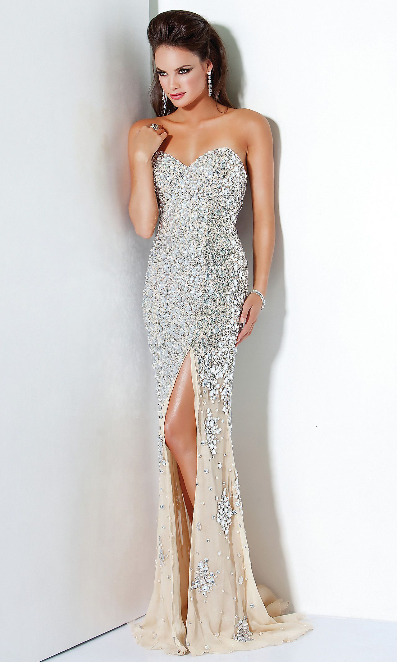 Silver Sequin Evening Gowns, Jovani Long Prom Dresses- PromGirl | My ...
