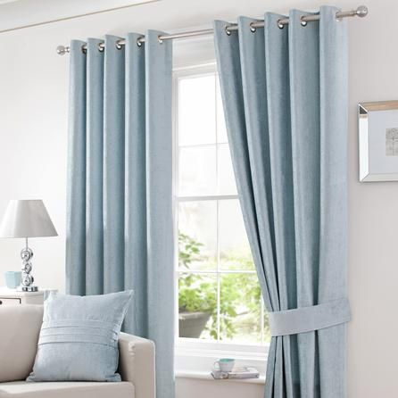 Duck Egg Chenille Lined Eyelet Curtains   Dunelm Mill