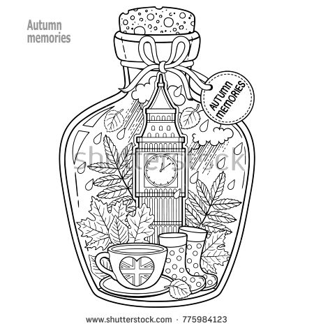 Coloring Book For Adults A Glass Vessel With Autumn Memories Of