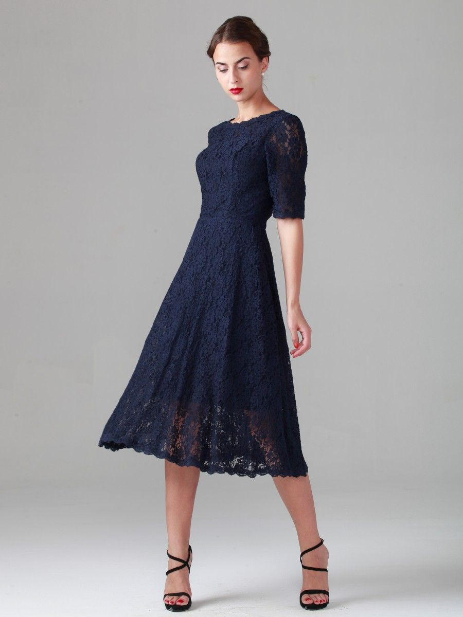 Elbow Sleeve Lace Dress; Color: Midnight Navy; Sizes Available: 2 ...