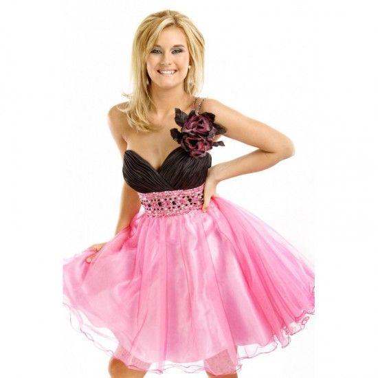 Pink prom short dresses