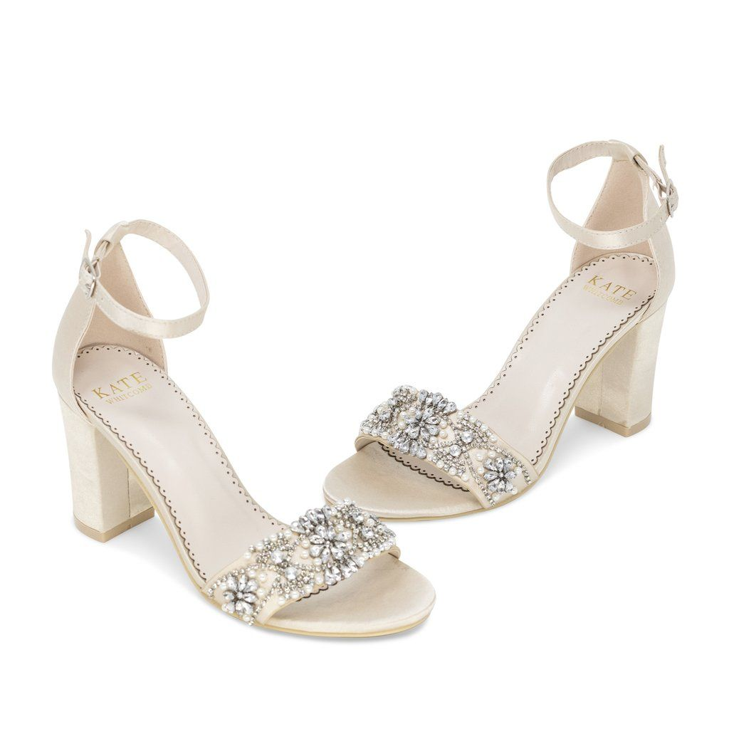 Bridal Shoes Block Heel - Lucy Champagne In 2020