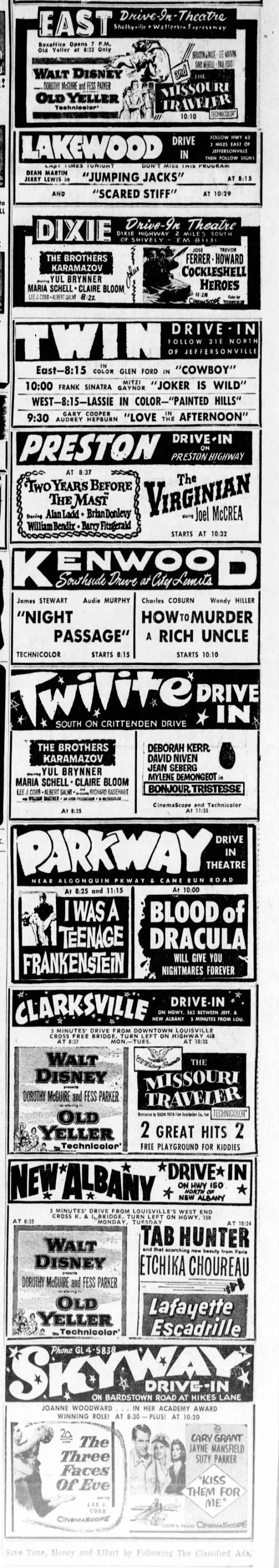 Drive In Movie Ads The Courier Journal Louisville Ky June 2 1958