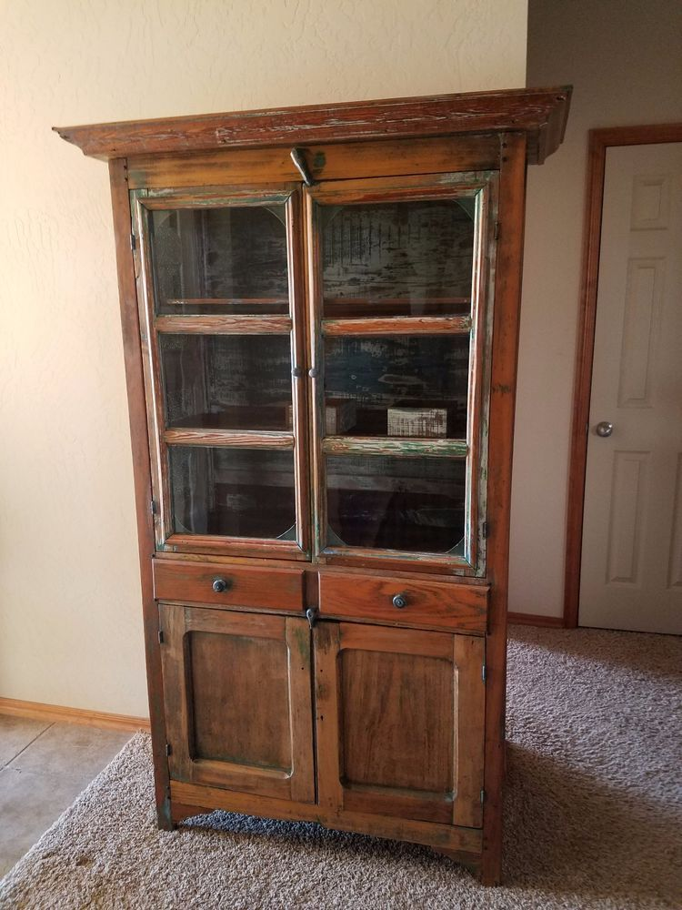 1890-1910 antique pie safe cabinet - 1890-1910 Antique Pie Safe Cabinet Wire Mesh, Moldings And Danish