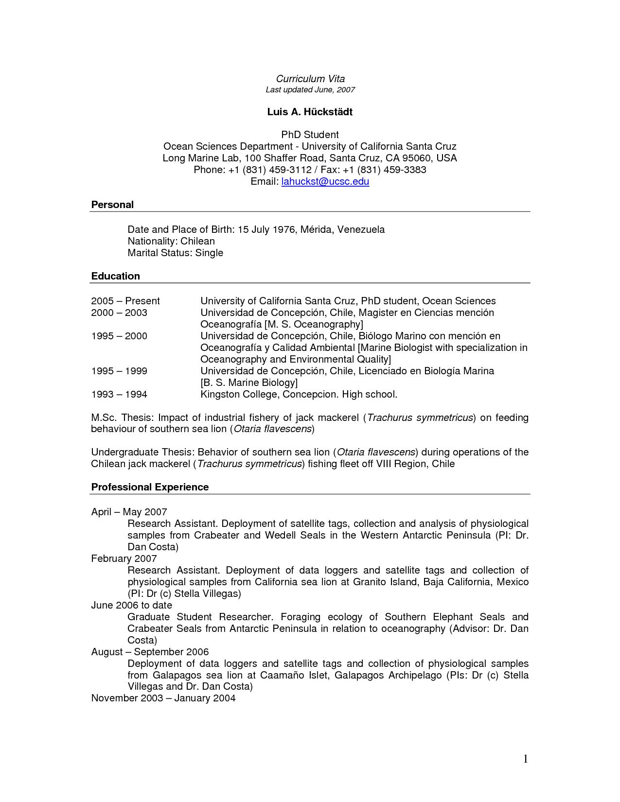cv phd candidates example