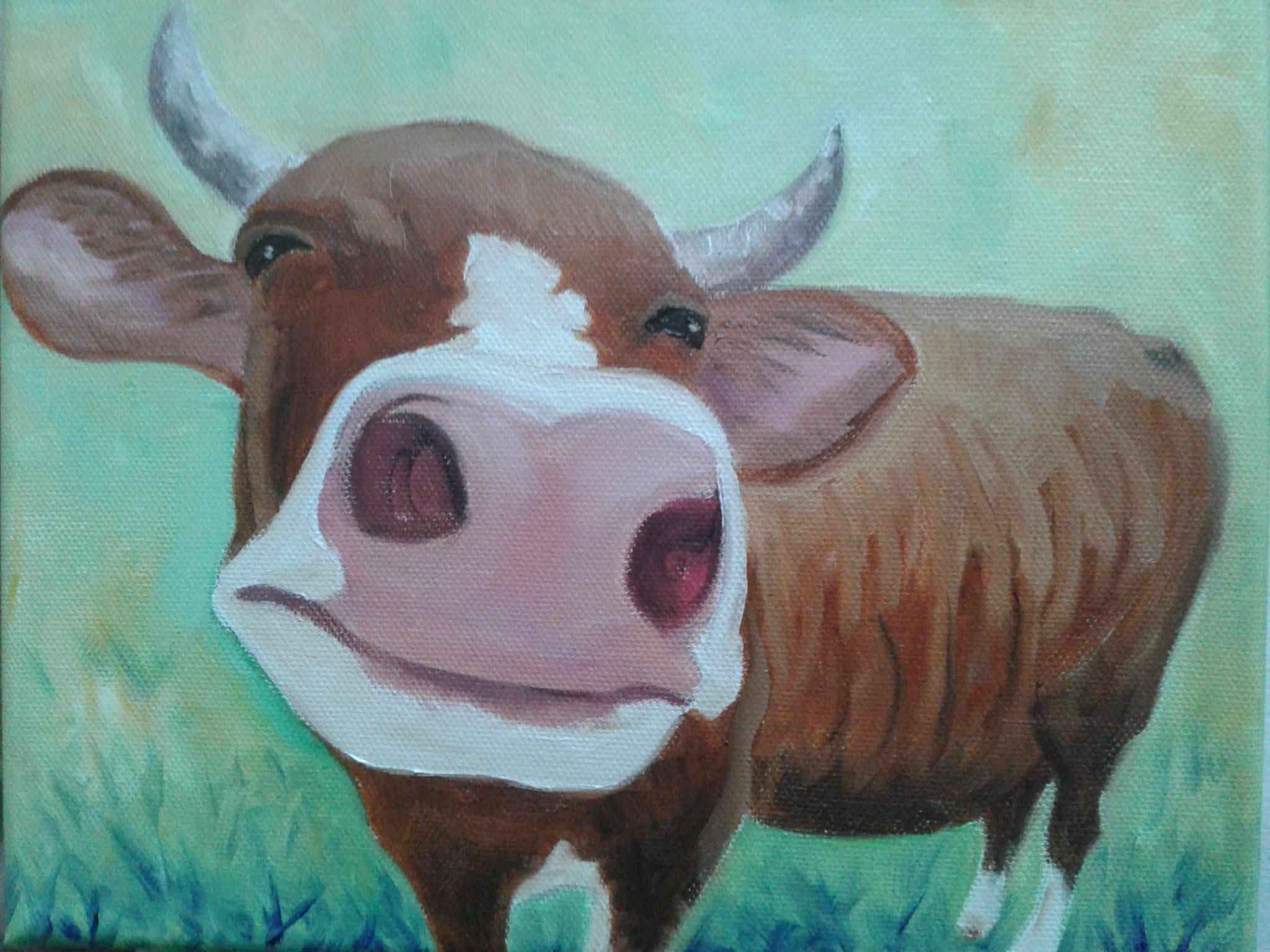 Hy Cow Painting Art Farm Animal