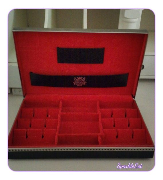 Vintage Mens Ornate Jewelry Box with Red Velvet by SparkleSet