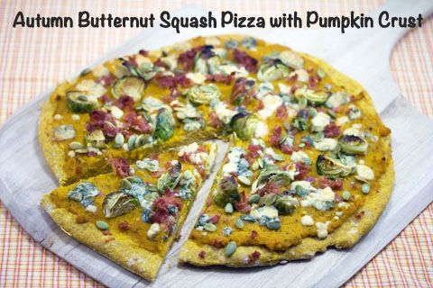 Autumn butternut squash pizza with pumpkin crust from Sues (We Are Not Martha)