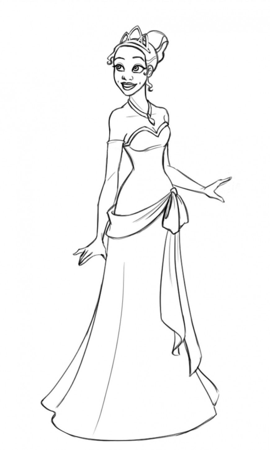 Princess-Tiana-Coloring-Pages-To-Print.jpg (870×1451) | Disney\'s ...