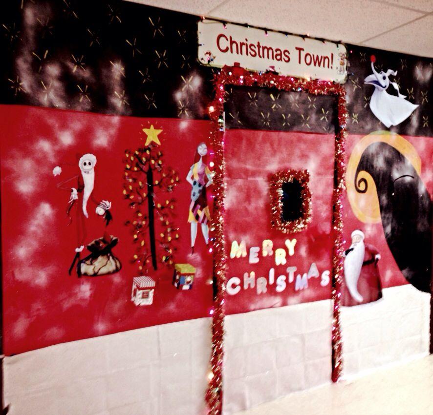Nightmare Before Christmas Door Decoration I Think I Did Great Christmas Door Decorations Christmas Door Christmas School