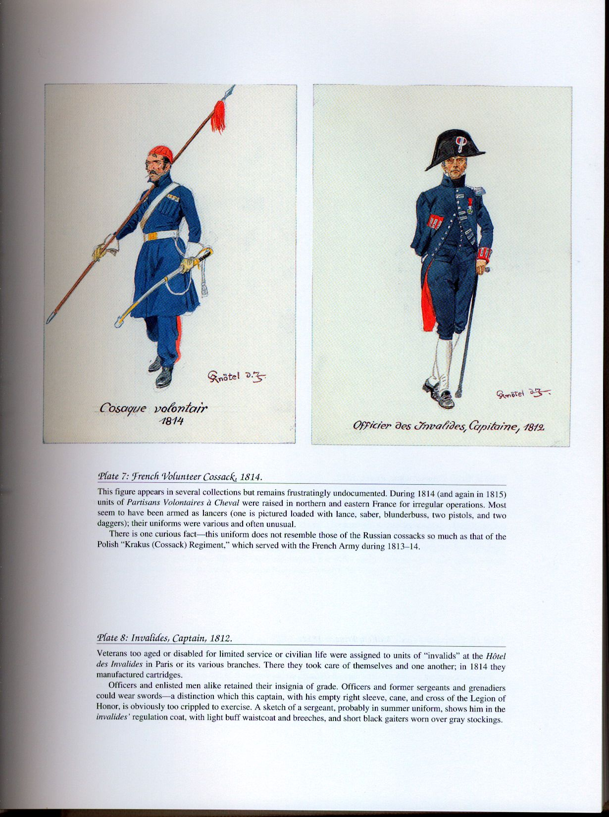National Guard, Schools, Guards of Honor: Plate 7: French Volunteer Cossack, 1814. + Plate 8: Invalides, Captain, 1812.