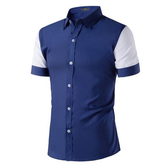 HEE GRAND 2017 Summer New Fashion Clothing Short Sleeve Shirt Men Patchwork  Shirt Slim Fit Casual Shirt Men MCS686 b99f7936d65