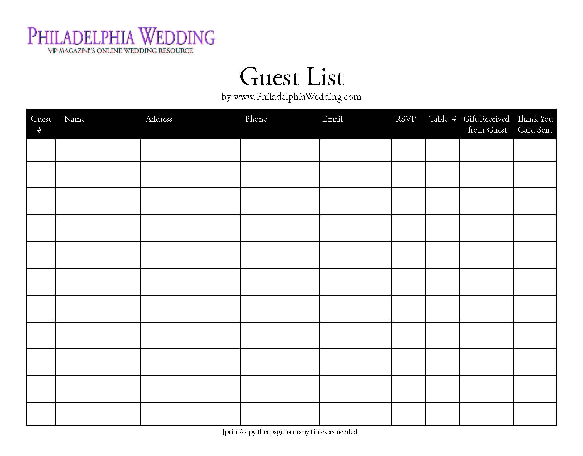 Wedding Guest List Template |  Free Printable Wedding Guest List