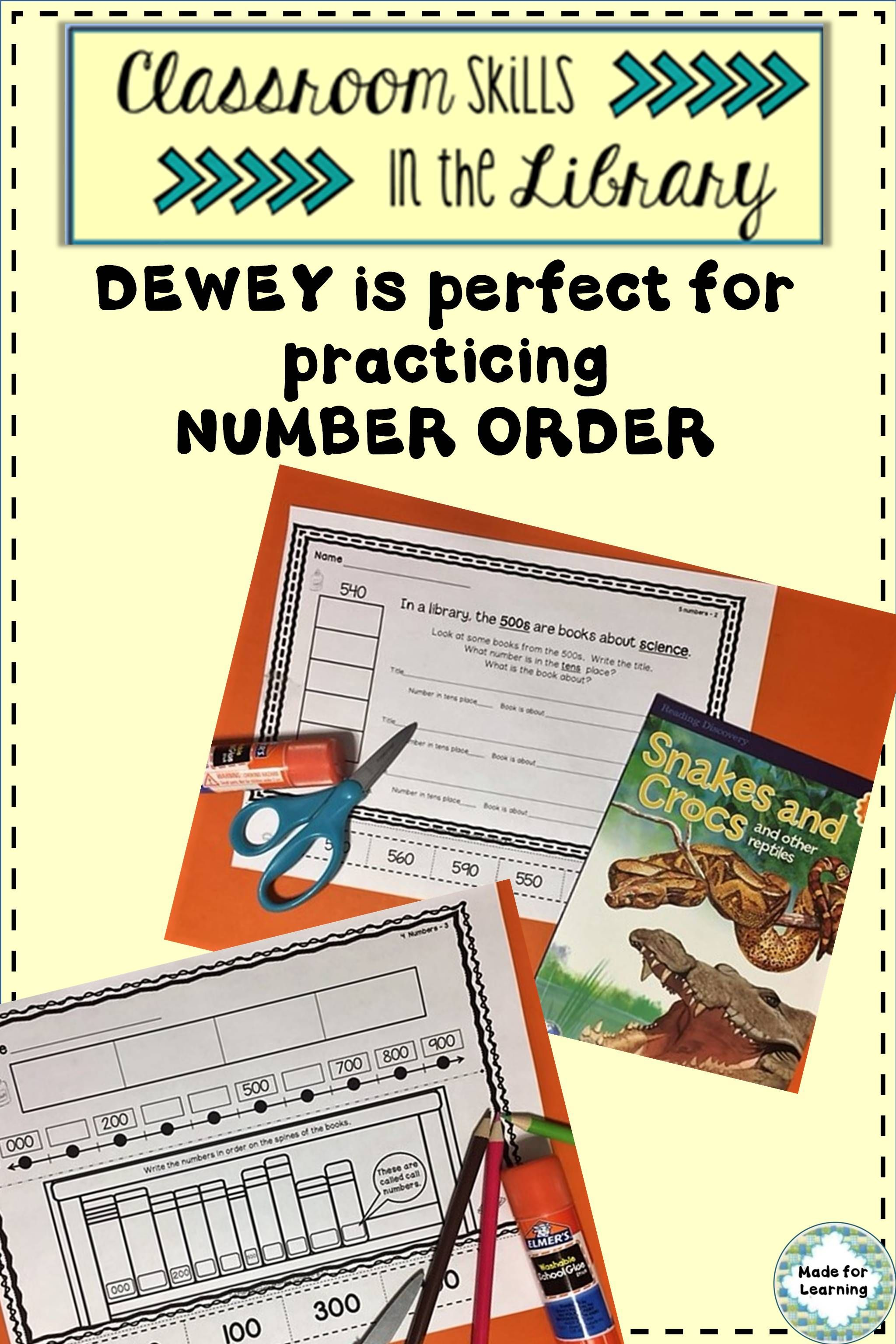 Classroom Skills In The Library Number Order Printables