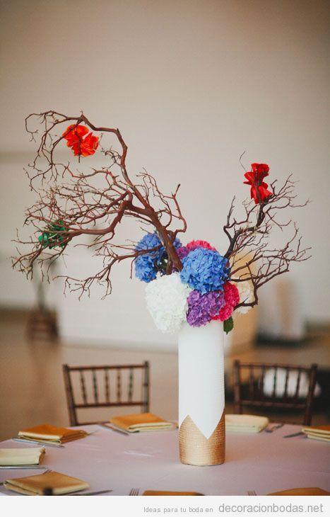 Decoraci n de mesa de bodas con jarr n ramas de rbol - Plantas secas decoracion ...