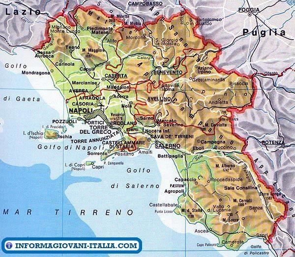 Cartina Geografica Della Costiera Amalfitana.Mappa Della Campania Cartina Della Campania Mappa Dell Italia