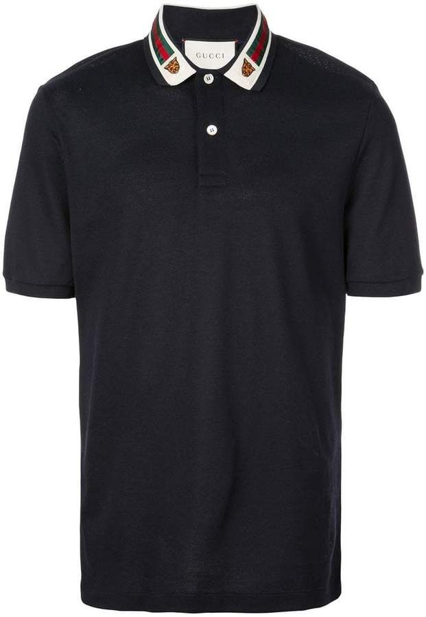 90a521910 Gucci Cotton polo with Web and feline head in 2019 | Products ...