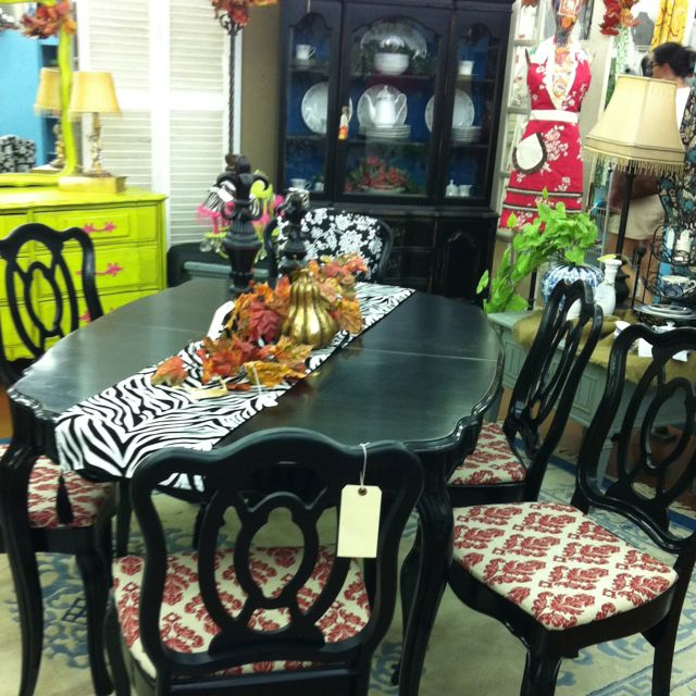 This table is perfect for the holidays! I painted it in a shinny black and recovered the seats! French provincial