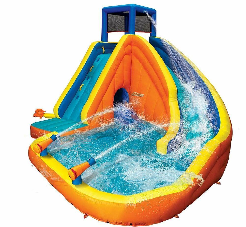Banzai 90494 Sidewinder Falls Inflatable Water Slide With Tunnel Ramp Slide Banzai En 2020 Juegos Inflables Para Ninos Inflables Para Ninos Toboganes De Agua