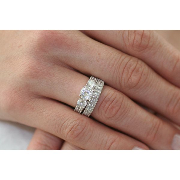 giannas intricate three stone cz wedding ring set 4 sterling silver - Cz Wedding Ring Sets