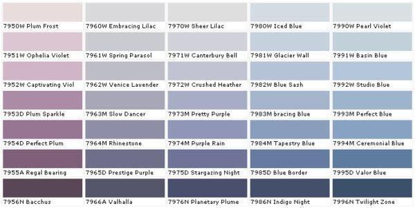 Wandfarbe Purpur Violett Lila Blau Farbpalette Benjamin Moore ... Blaue Wandfarbe Graue Mbel