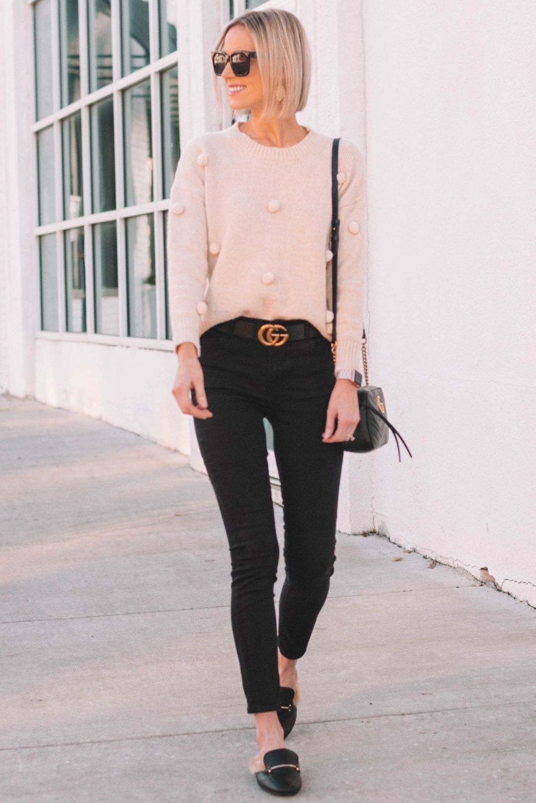 f03896a8aed casual outfit with great gucci dupe pieces, cream pom pom sweater, black  jeans, Gucci dupe slides under $25, Gucci dupe belt #pompom #sweater # casualoutfit ...