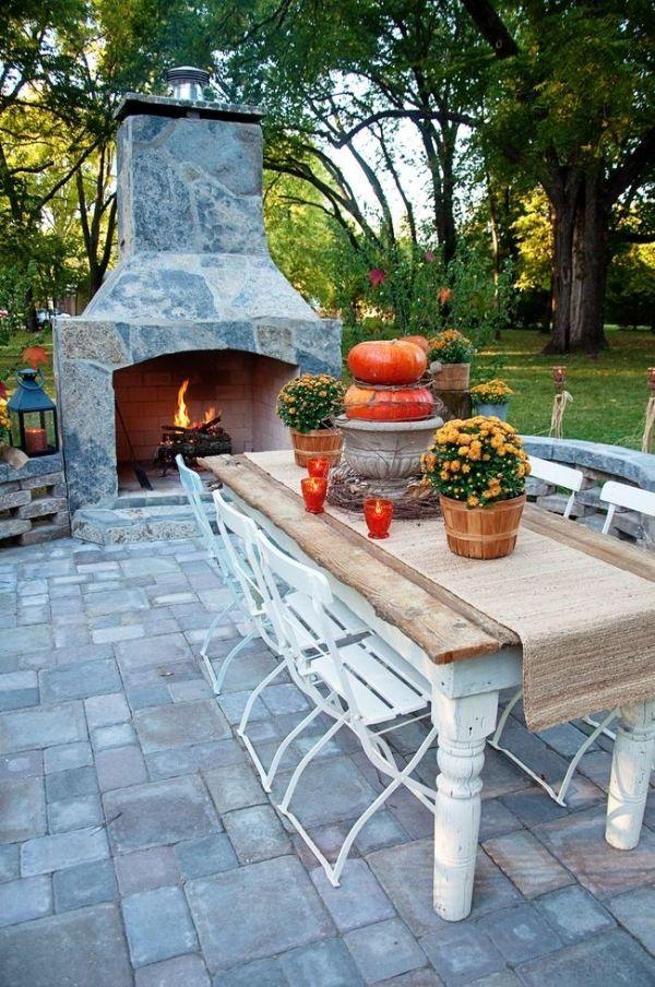 Schon Outdoor Deko Ideen Herbst Tisch Set Kamin Tischläufer