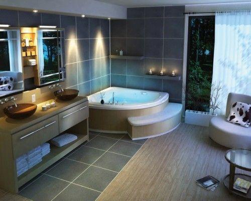 Très belle salle de bain avec grande baignoire et double vasque ...