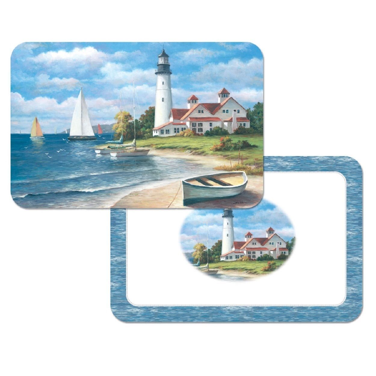Counterart 'lighthouse Mural' Reversible Plastic Wipe Clean Placemats
