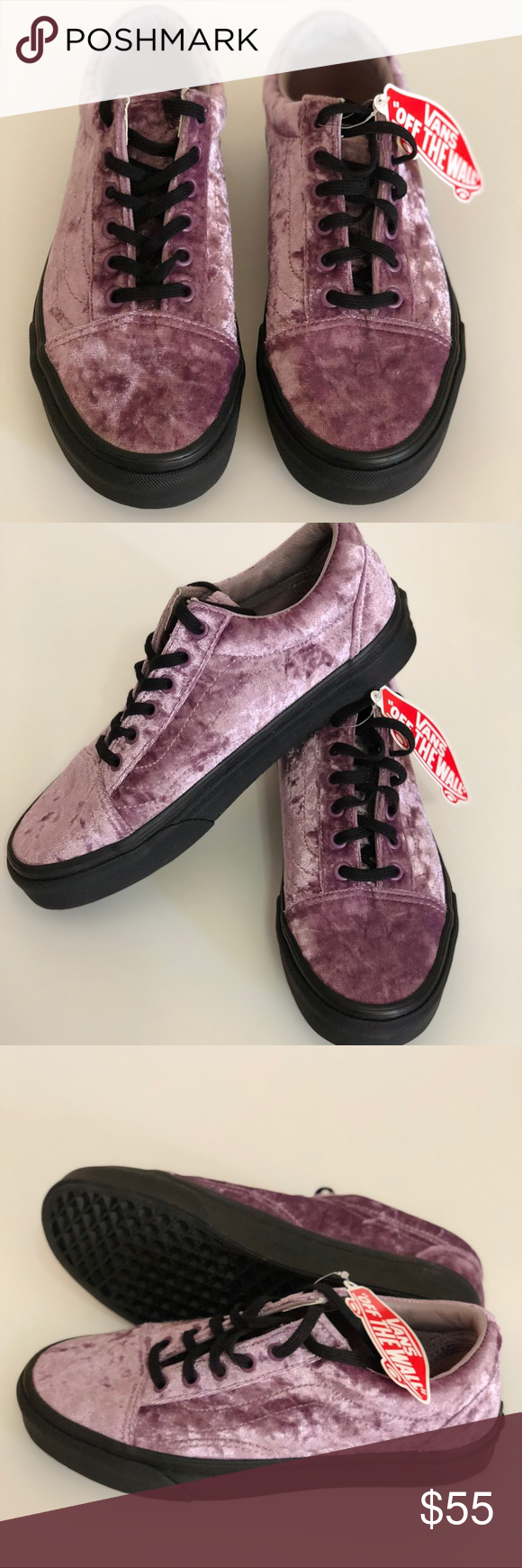 198ead6ca2 Vans Old Skool Velvet Purple Sea Fog Black Gum NWT Vans Old Skool Velvet  Purple Sea Fog Black Gum Size Women s 10