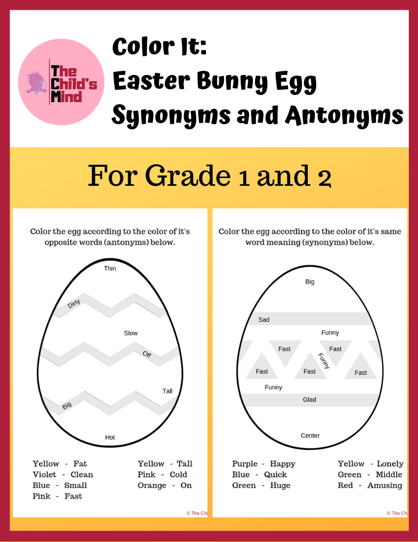 Freebie Color It Easter Eggs Synonyms And Antonyms Synonyms And Antonyms Antonyms Antonyms Activities