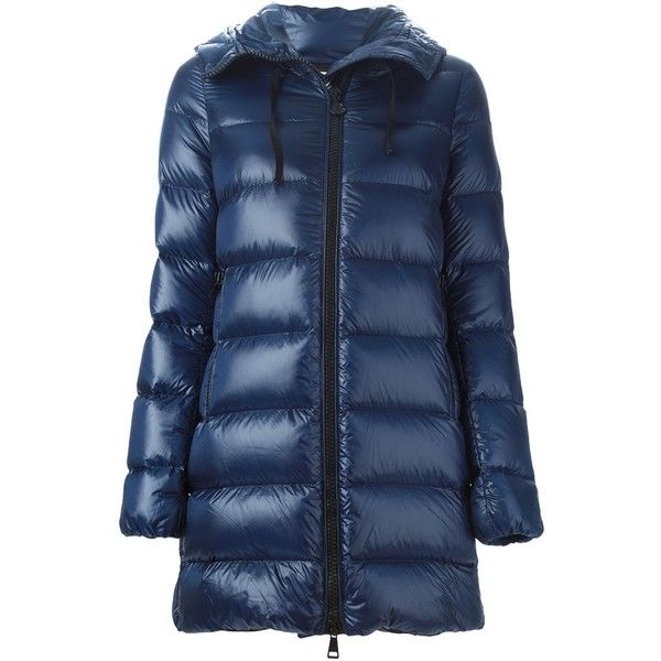 Moncler Suyen Padded Coat (£535) ❤ liked on Polyvore featuring outerwear, coats, blue, padded coat, moncler, a-line coat, quilted coat and feather coat
