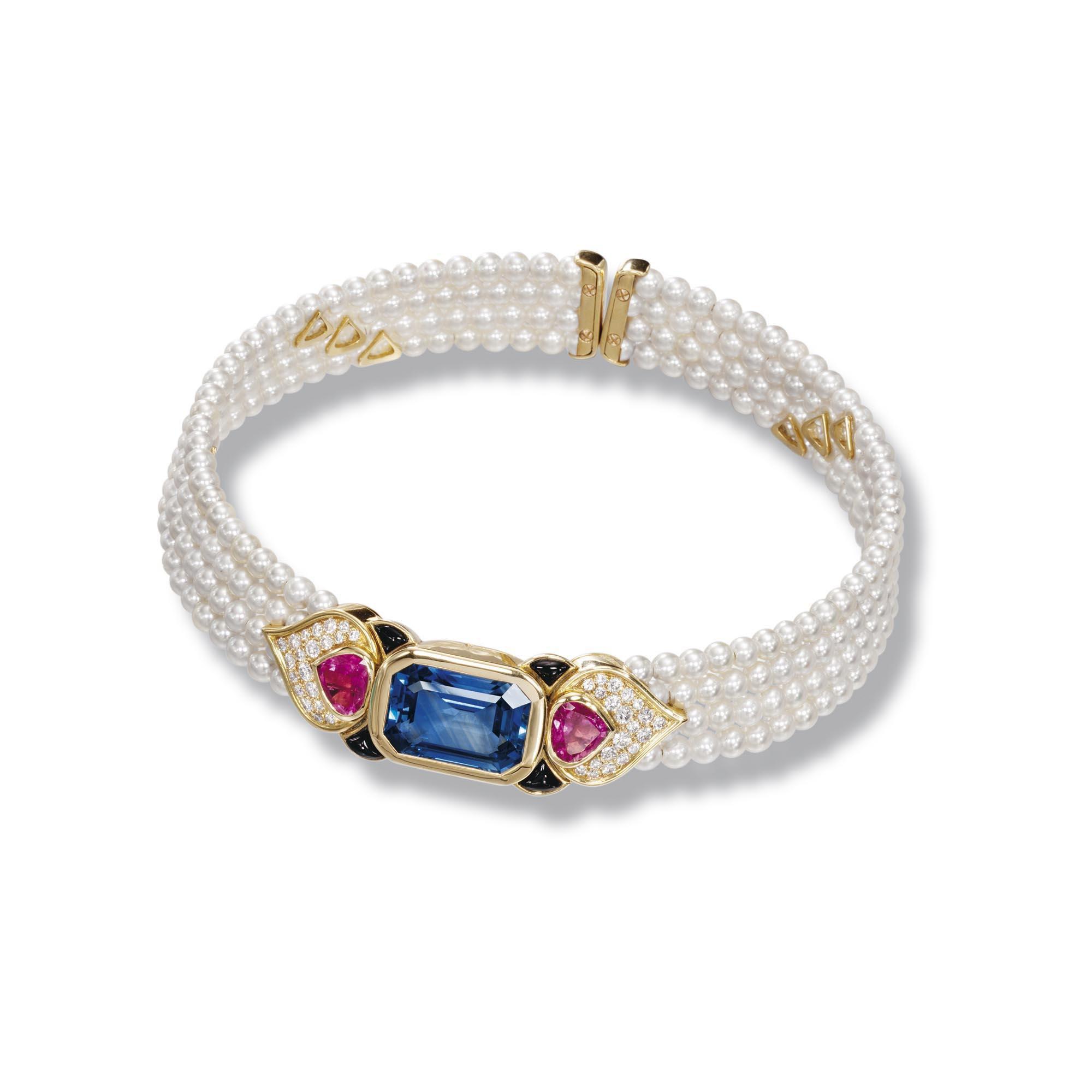Cultured pearl sapphire tourmaline onyx and diamond collar