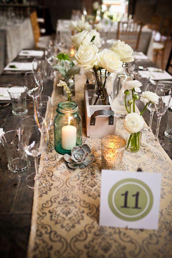 caminos de mesa para bodas vintage