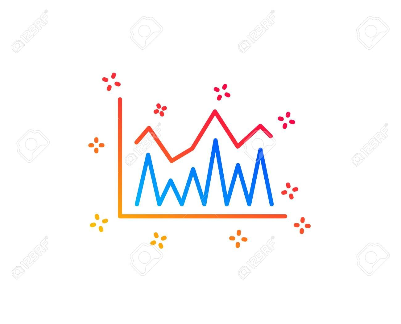 Line Chart Icon Financial Growth Graph Sign Stock Exchange Symbol Gradient Design Elements Linear Investment Icon Random Shapes Vector Spon Art Pincode