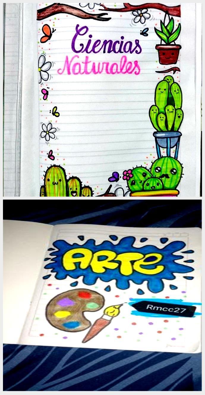 Carátulas Portadas Para Cuadernos De Niñas Ciencias Naturales Con Plantas Y C Caratula Sketch Book Penguin Craft Lettering