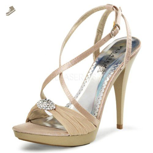 Pleaser Women's Revel-07 NUSA Platform Pump,Nude Satin,9 M US -