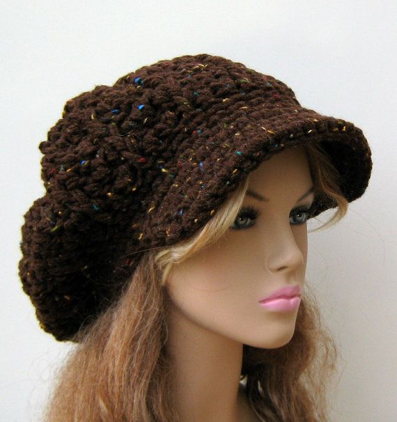 Newsboy cap, Brown Rustic Tweed Cap Visor Tam Hat Slouchy Newsboy ...