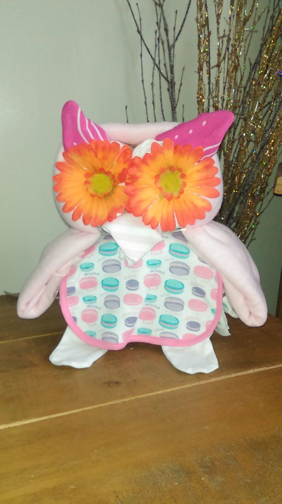 Owl Nappy Cake in Yellow Pink or Blue by BabyPamperHampers