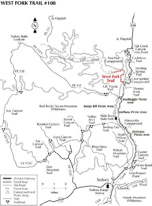 Map Of Arizona Including Sedona.Sedona Arizona Hiking Trails West Fork Oak Creek Sedona Oak