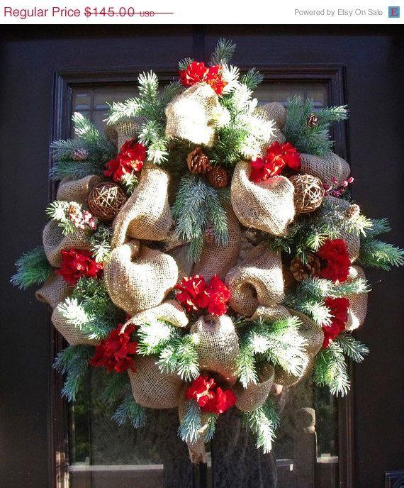 Christmas Burlap Wreath, Christmas Wreath, Burlap Door Wreath, Country Wreath, Burlap Christmas Wreath