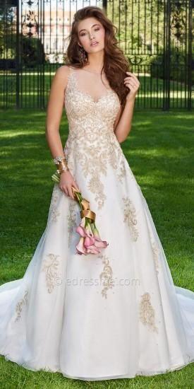 Metallic Applique Illusion Wedding Dress By Camille La Vie  #dress #weddingdress #bridal #camillelavie #edressme