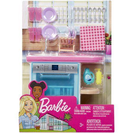 Barbie Indoor Furniture Set with Kitchen Dishwasher & Accessories - Walmart.com #barbiefurniture