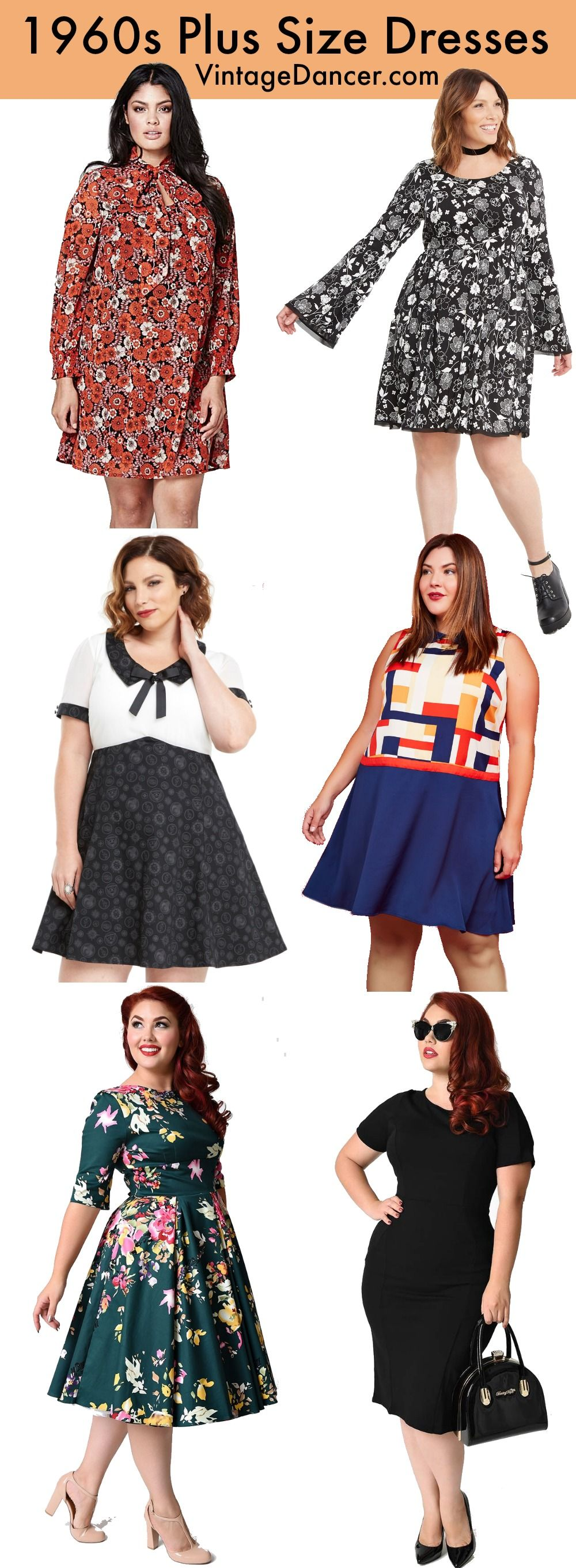 60s Plus Size Retro Dresses, Clothing, Costumes | 1960s ...