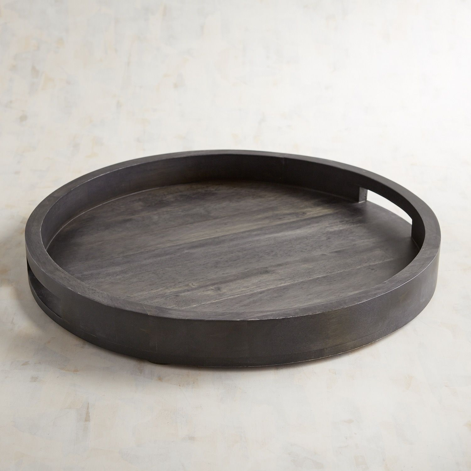Round Black Washed Wooden Tray Wooden Tray Round Tray Decor Round Wooden Tray