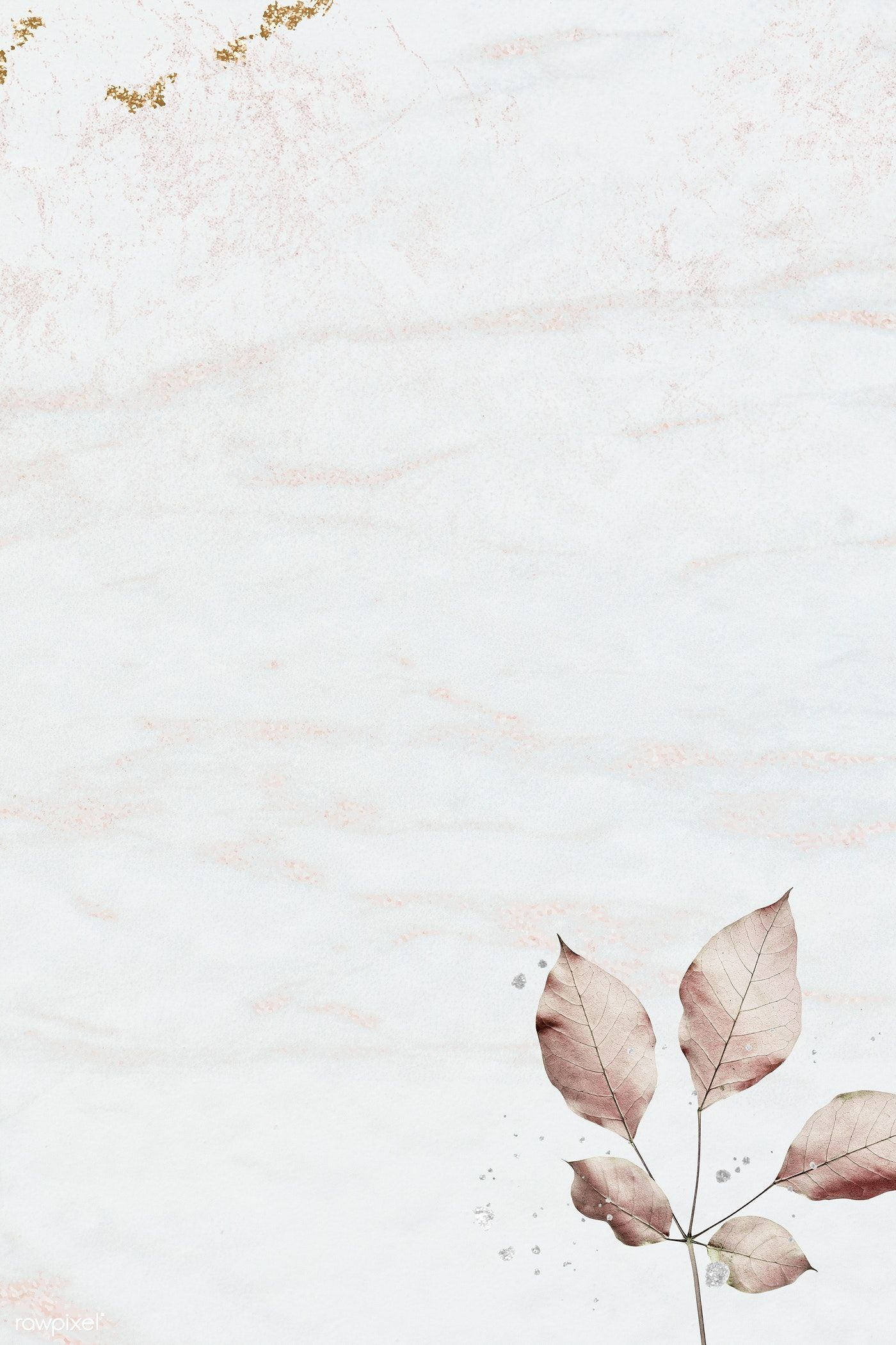 Download premium illustration of Pink leaf pattern on marble textured #marbletexture